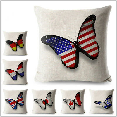 Cotton Butterfly Flag Line Cushion Cover Decorative Colorful Pattern Pillow case