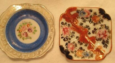 2 Vintage Hand Painted Butter Pats 1 Square Asian Flowers & Marking 1 Japan