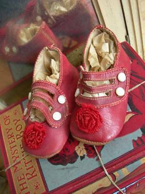 Pair tiny French antique 1890s red leather baby / doll shoes with pompoms unworn