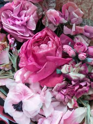 Fabulous collection antique & vintage French silk & velvet millinery flowers