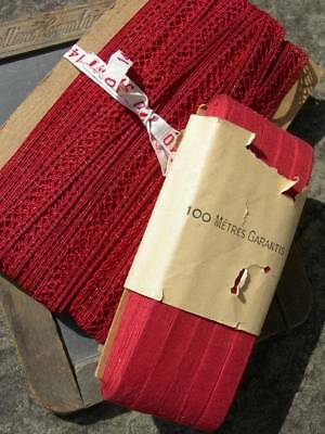 Approx. 120 metres (130 yards) antique French red lace & cotton tape ribbon