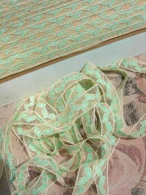 Unused card circa 33 metres antique French 1920s ecru  green tulle lingerie lace
