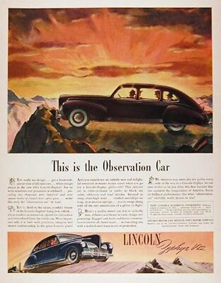 1941 LINCOLN ZEPHYR Genuine Vintage Advertisement ~ V12 Ad