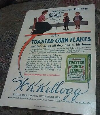 1907 Kellogg's  Full Page Color Ad. Very scarce this nice.