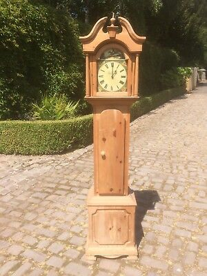 Longcase grandfather clock modern pine reproduction