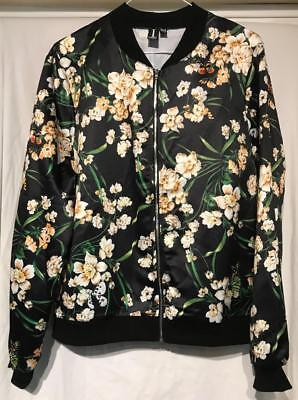Size 14 Izabel London Floral Black Satin Bomber Jacket