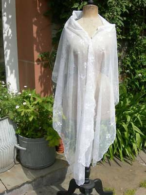 Beautiful antique French embroidered tulle lace shawl - wedding