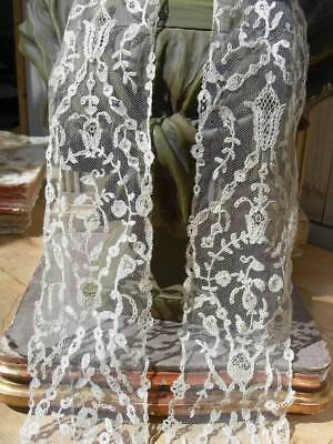 Antique handmade Brussels lace applique on tulle lappet scarf - wedding