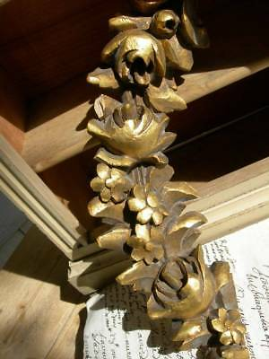 Antique French 19thC gilded wood bois doree carved wood decorative fragment