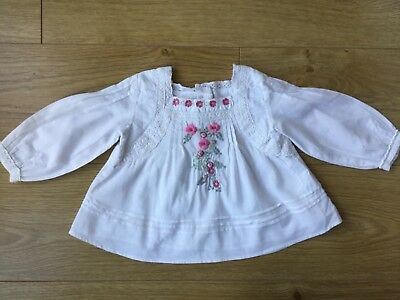 Monsoon White Embroidered Blouse Top Age 6-12m Perfect Condition