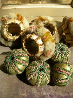 Collection 8 antique French handmade passementerie silk & wool baubles
