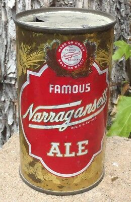 OLD SCHOOL 1950s NARRAGANSETT ALE FLAT TOP BEER CAN  NON IRTP CRANSTON RI