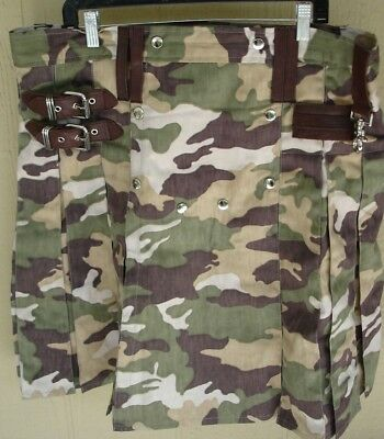Camouflage Kilt By Macleo With Dark Leather Brown Trim Size 38 (No Side Pouch)