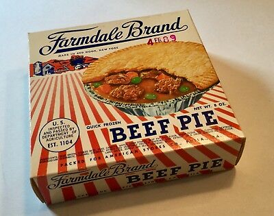 VINTAGE TV Dinner Box Beef Farmdale Pie Old 60s Food Product Advertising Pa