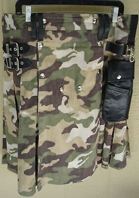 Camouflage Kilt By Macleo With Black Leather Trim & Black Leather Pouch Size 38