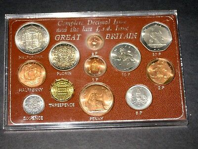 Complete Decimal Issue and the Last L.S.D. Issue Great Britain - 12 coin set