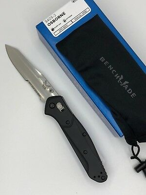 *Benchmade 940S-2 Osborne AXIS Lock Knife Black G-10 Handles Satin Serrated Edge