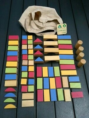 Early Learning Centre (ELC) Set of Coloured Wooden Building Blocks & Bag