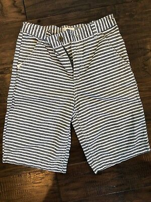 Boys Old Navy Gray and White Striped Shorts Size 12 Adjustable Waist