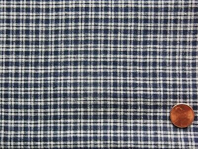 3-3/8 Yds Antique Homespun BLUE & WHITE PLAID Cotton Fabric, 25-1/4 Inches Wide
