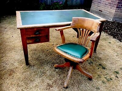 Vintage Oak Desk with Leather inlay * Ex Post Office* Captains Chair Included