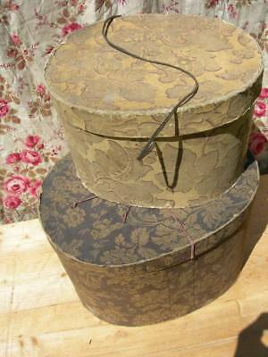 2 antique French hand block printed paper & card hat boxes 1887