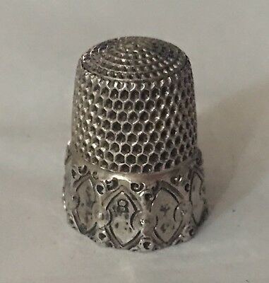 Antique Simons Brothers Fancy Sterling Silver Thimble~#8
