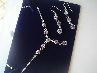 Sterling Silver    Amethyst  Necklace & Earring Set with  Box