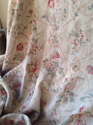 19C Antique French Fabric Floral Linen Small Mattress Cover Ecru Red Yellow Blue