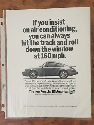 1993 Porsche 911 RS America Coupe 160 mph Air Conditioning  Print Ad