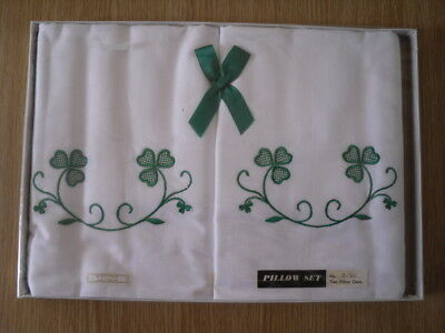 Vintage Irish Embroidered Pillowcase Set - Made In Ireland - G150 Sealed In Box