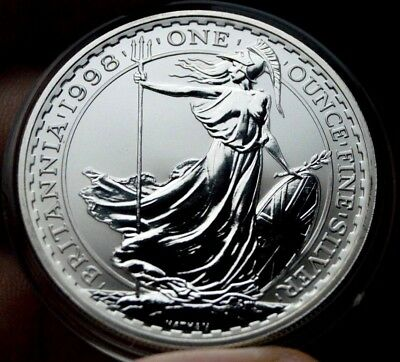 1998 Silver Britannia Two Pounds British Bullion Crown Coin Royal Mint Queen