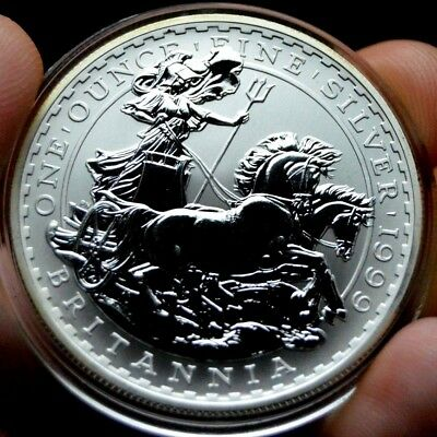 1999 Silver Britannia Two Pounds British Bullion Crown Coin Royal Mint Queen