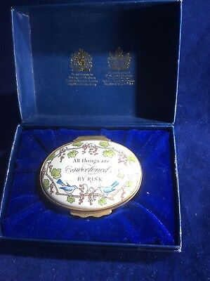 """HALCYON DAYS ENAMEL Oval Box in Original Box""""All Things Are Sweetened By Risk"""""""
