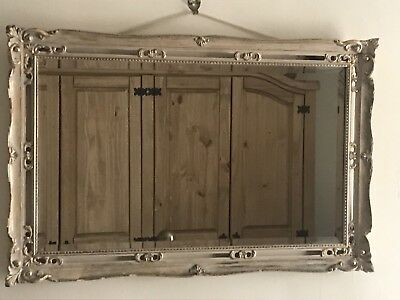1950's Shabby Chic'd Baroque Mirror With Bevelled Glass