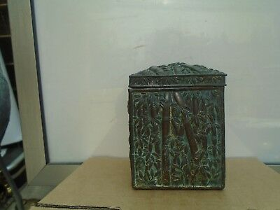 unusual Japanese antique tea caddy with birds in trees design  brass/bronze? WOW