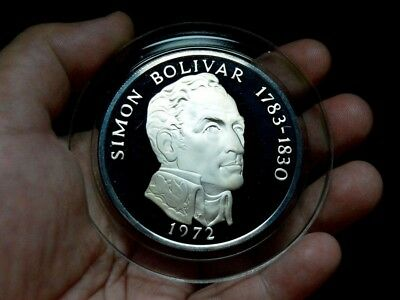1972 Large 130 Grams Sterling Silver Coin 20 Balboa Panama Boxed With Coa