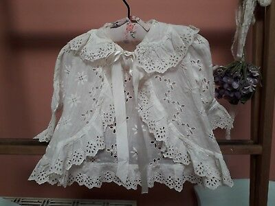 Vintage Baby Coat Jacket Embroidery White Cotton Antique Doll