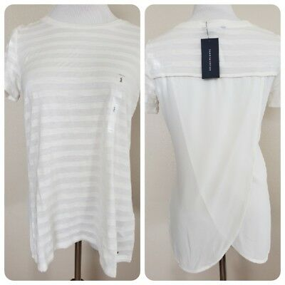 NWT Tommy Hilfiger tulip hem sheer back shirt top Ivory white womens Size small