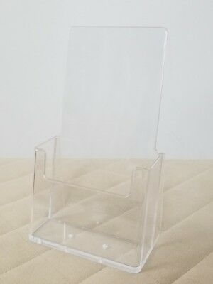 LOT OF 18 Clear Acrylic Tri Fold Brochure Holders Display Stand Holders 4x7