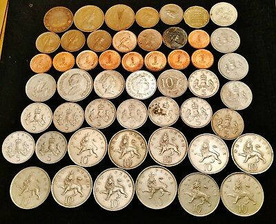 51 Great Britain UK Coin Lot, 1, 5 & 10 Pence, 1903 & Later - Nice Group