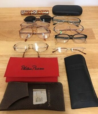 Collection Of 8 Vintage Glasses Spectacles & Cases Props TV Wardrobe Theatre