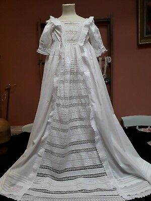 Vintage Christening Gown Dress Baby Embroidery Lace Pintucks Doll Antique