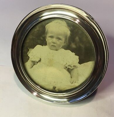 Solid Silver Photo Frame 1907 Chester Round Design Antique Baby Photo Purple Vel