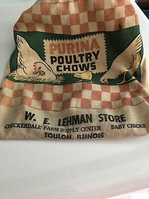 Vtg. Purina Poultry Chows Champion Clothes Pin Bag WE Lehman Toulon IlI.Chickens