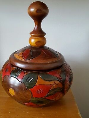 wooden carved bowl with lid treen dish