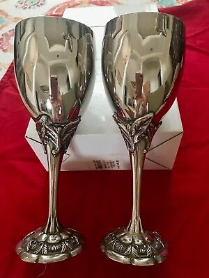 Royal Gallery Set of Two (2) Silver-Plated Wedding / Fine Dining Goblets In-Box