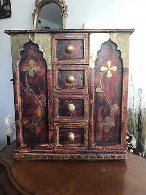 Table Top Asian Cabinet Wood And Brass