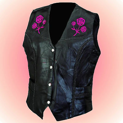 Ladies ROSE Leather Motorcycle Biker Vest--Size 2X--Great Vest w/ Braided Trim