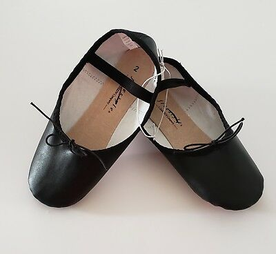 Freestyle Girls Dance Ballet Shoes A Danskin Co Black Size 2 Leather Sole New